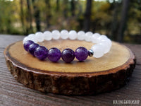 Amethyst and White Jade Bracelet for Stress Relief and Negative Energy Protection