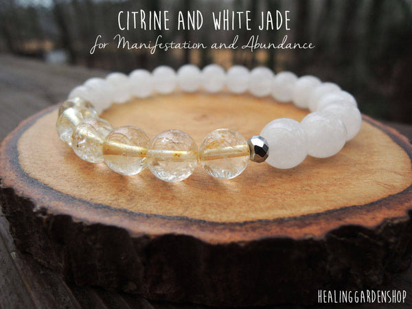 Citrine and White Jade Energy Bracelet for Manifestation and Abundance