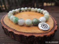 Jade with Lotus Charm Bracelet