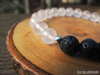 Lava and Rose Quartz  Essential Oil Diffuser Bracelet