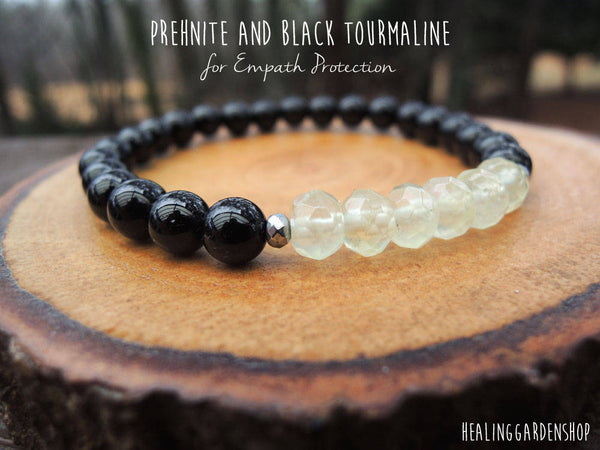 Dainty Prehnite and Black Tourmaline for Empath Protection