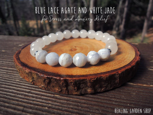Blue Lace Agate and White Jade for Stress and Anxiety Relief