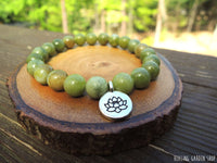 Nephrite Jade and Lotus Bracelet