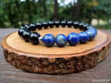 Lapis Lazuli and Black Tourmaline Bracelet