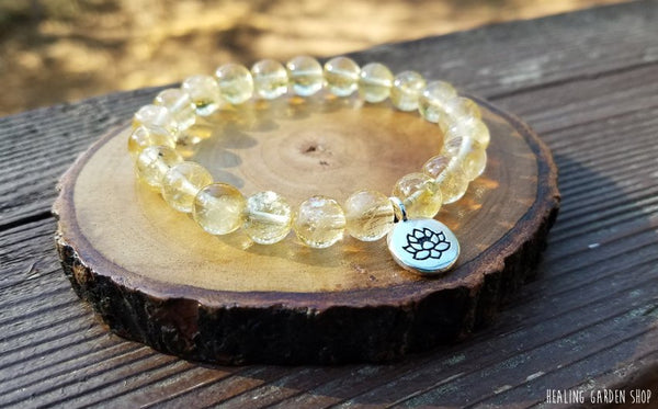 Citrine and Lotus Bracelet for Abundance and Manifestation