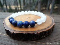 Lapis Lazuli and White Jade Bracelet for Stress Relief
