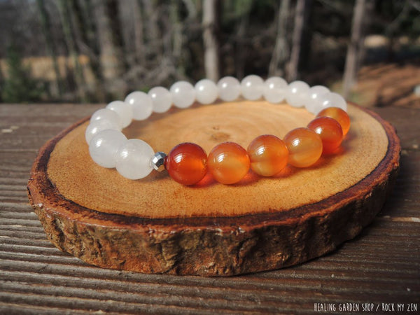 Carnelian and White Jade for Root Chakra Balancing