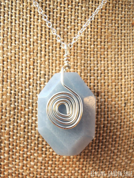 Angelite Necklace with Silver Plated Chain - Stress Relief, Spiritual Communication