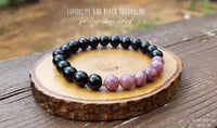 Lepidolite and  Black Tourmaline Bracelet