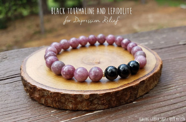Black Tourmaline and Lepidolite Bracelet for Depression Relief