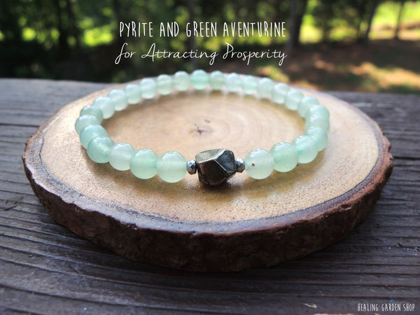 6mm Dainty Pyrite and Green Aventurine Bracelet for Prosperity