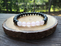 6mm Dainty Rose Quartz and Black Tourmaline for Self Confidence