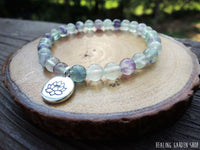 6mm Rainbow Fluorite and Lotus Bracelet for Mental Organization