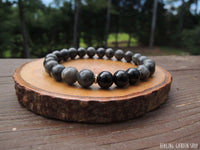 Black Tourmaline and Larvikite Bracelet for Negative Energy Protection