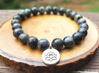 Lotus and Larvikite Bracelet for Negative Energy Protection