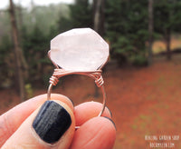 Wire wrapped Rose Quartz Ring by RockMyZen.com