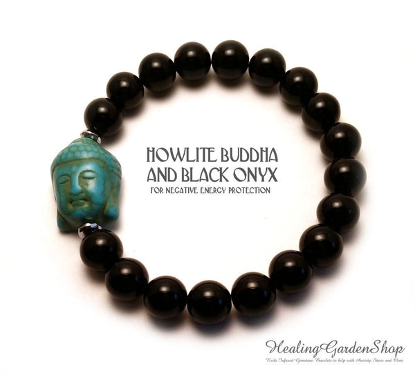 Howlite Buddha and Onyx for Negative Energy Protection