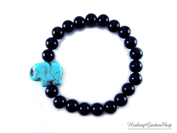 Howlite Elephant and Black Onyx Bracelet for Focus and Concentration by Rock My Zen