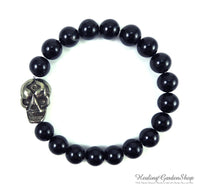 Pyrite Skull and Black Tourmaline Bracelet