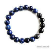 Black Tourmaline Bracelet and Lapis Lazuli for Stress and Anxiety Relief