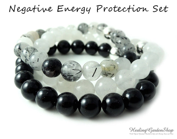 Negative Energy Set of 3 with Black Tourmaline, White Jade and Tourmalated Quartz