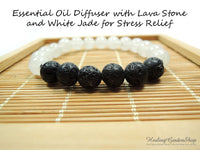 Lava Stone and White Jade Essential Oil Diffuser Bracelet