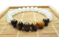 Tiger Eye and White Jade Bracelet for Negative Energy Protection