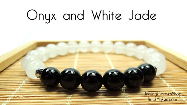 Root Chakra Black Onxy and White Jade