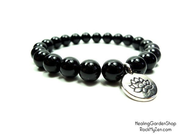 Black Tourmaline and Lotus Bracelet for Negative Energy Protection