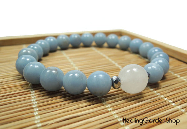 White Jade and Angelite for Stress Relief and Angel Communication