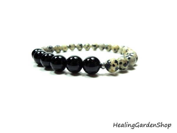 Onyx and Dalmatian Jasper bracelet by Rock My Zen