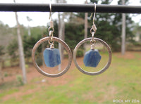 Silver hoop Kyanite earrings by Rock My Zen