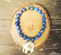 Lapis Lazuli and Gold Elephant Bracelet for Stress and Anxiety Relief by Rock My Zen