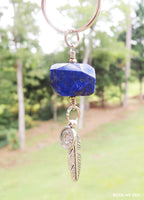 Lapis Lazuli Moon and Feather Keychain by Rock My Zen