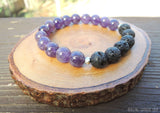 Lava and Amethyst Essential Oil Diffuser Bracelet by RockMyZen.com