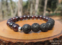 Essential Oil Diffuser Bracelet with Lava and Garnet by RockMyZen.com