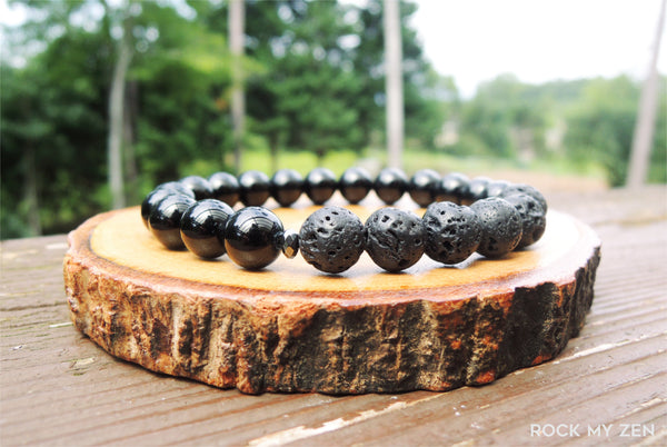 Lava and Black Tourmaline Bracelet for Negative Energy Protection by Rock My Zen