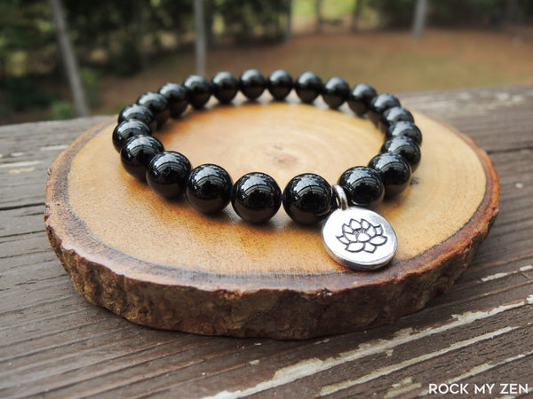 Black Tourmaline and Lotus Bracelet for Negative Energy Protection by Rock My Zen