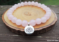 Rose Quartz with Lotus Charm Bracelet by Rock My Zen