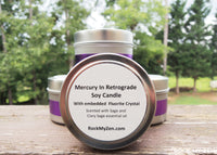 Mercury in Retrograde Crystal Candle by Rock My Zen