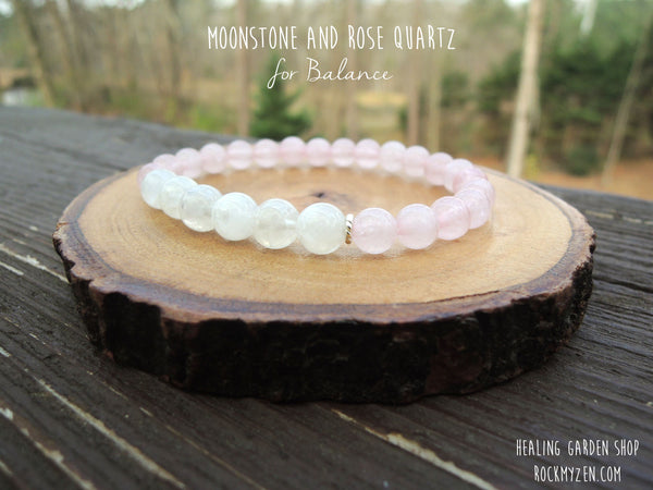 Dainty Moonstone and Rose Quartz for Self Love, Balance and Confidence by Rock My Zen