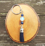 Opalite and Lapis Lazuli Tassel Keychain by Rock My Zen