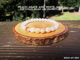 Dainty Peach Agate and White Jade for Protection and Stress Relief by Rock My Zen