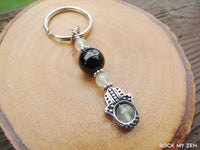 Prehnite and Black Tourmaline Hamsa Keychain by Rock My Zen