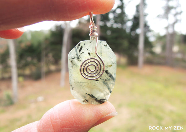 Wirewrapped Prehnite with Swirl Pendant by Rock My Zen
