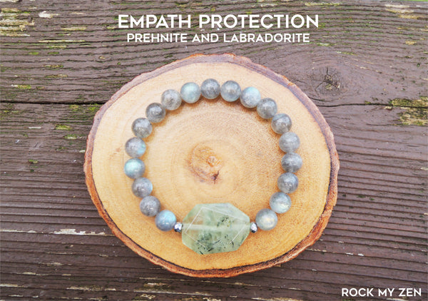 Prehnite and Labradorite Bracelet for Empath Protection by Rock My Zen
