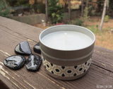 sage smudge candle with black tourmaline crystals by rockmyzen.com