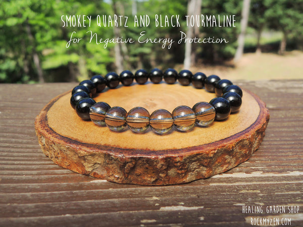 No metal parts - Black Tourmaline and Smokey Quartz for Negative Energy Protection by RockMyZen.com