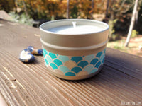 Sodalite soy candle with embedded crystal from RockMyZen.com