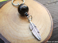 Tiger Eye and Black Tourmaline Feather Keychain by Rock My Zen